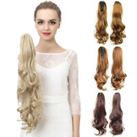 Women Wavy Curly Ponytail Claw Long Ponytails Clip In Hair Piece Extension 22""