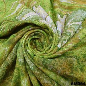 Antique Vintage Sari Fabric Green Floral Printed Craft Silk Blend Saree SI8364