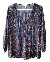 Joie Size S 100% Silk Blue Paisley Pleated Tie V Neck Peasant Blouse Boho