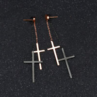 Smooth Cross Tassels Black/Rose Gold GP Surgical Stainless Steel Stud Earrings