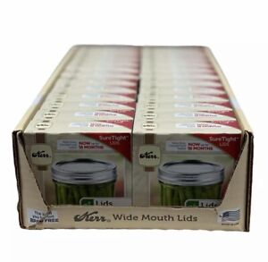 Kerr Wide Mouth Lids LOT OF 24 BOXES 288 Total Canning Lids Sure Tight BPA Free
