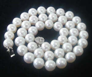 """8MM White shell Pearl Round Beads Flower Clasp Necklace 18"""""""