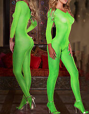 Lingerie combinaison ouverte verte fluo sexy transparente