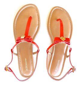NEW BCBGeneration Kalinda Patent Melon Flat Sandals 10M