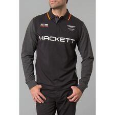 Hackett uomo Aston Martin Racing Polo a Maniche Lunghe-Nero/Grigio Grande