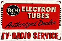 "RCA Electron Tubes TV Radio Vintage Rustic Retro Metal Sign 8"" x 12"""