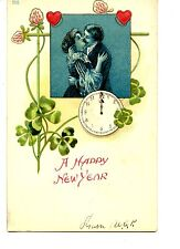 Couple Kiss-Midnight Clock-Good Luck Clover-New Year Holiday Vintage Postcard