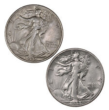 Raw 2 Pack 1933-S 1939 Walking Liberty 50C US Mint Silver Half Dollar Lot