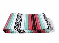 Mint and Coral Pink Mexican Blanket Vintage Style Serape Blanket XL Stripe Falsa