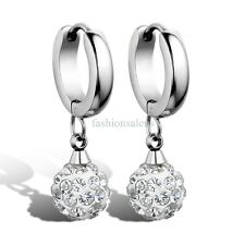 1 Pair Silver-tone Stainless Steel Balls w/ CZ Womens Dangle Drop Earrings Gift