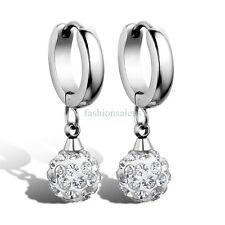 1 Pair Silver-tone Stainless Steel Balls w/ CZ Womens Dangle Drop Earrings Gift