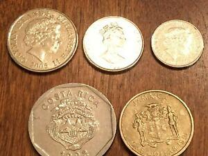 5 ISLAND COINS ~ JAMAICA ~ COSTA RICA ~ CAYMAN ISLANDS ~