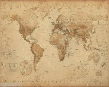 MINI Mappa del mondo Stile Antico 40 x 50 cm Poster Muro Nuovo di Zecca Grande Regalo