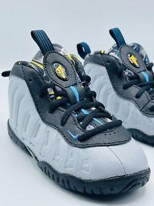 Nike Little Posite 1 Graffiti Wolf Grey TD Size 7C Toddler 723947 009 Foamposite