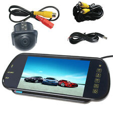 "7"" MP5 Bluetooth Car Rearview Mirror Monitor+ Night Vision Auto Reverse Camera"