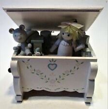 music box wooden box with moving roof and dol