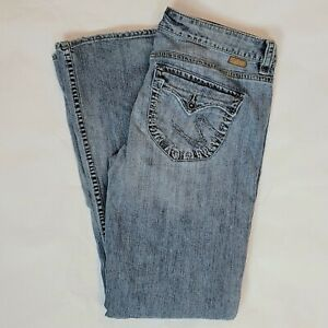 ~*Silver Jeans Camille Size 32 x 33 Light Wash Faded Ultra Low Rise GUC Bootcut
