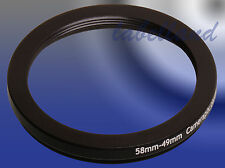 58mm-49mm 58-49 Filter Adaptor Ring Converts 58mm lens thread to 49mm Step-Down