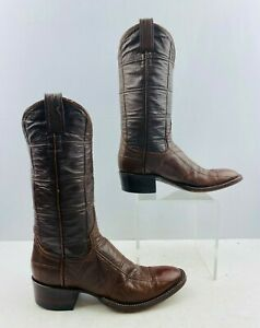 "Ladies Brown Leather Round Toe Western Cowgirl Boots Size: 6 A ""Narrow Width"""