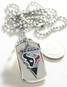 HOUSTON TEXANS NFL  STAINLESS STEEL DOG TAG NECKLACE  3D BALL CHAIN