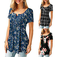 ❤️ Womens Short Sleeve Summer Boho Floral Tunic Tops Casual Loose T Shirt Blouse