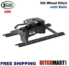 20K CURT A20 5TH FIFTH WHEEL TRAILER HITCH with UNIVERSAL RAILS #16141