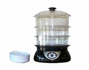 Dampfgarer Reiskocher Dampfkocher Dampfgargerät 3 Garbehälter 900 Watt 9 Liter