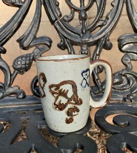 Vintage Stoneware Ceramic Mushroom Cup Mug