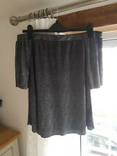 River Island black/silver off the shoulder sparkly top, size 12