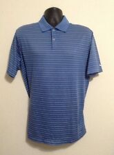 Nike Golf Blue M Striped Short Sleeve Polo Golf Mens Polyester Fit Dry Shirt