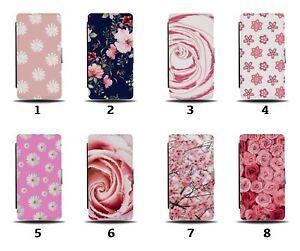 Pink Flowers Flip Wallet Case Flower Floral Coloured Colour Girls Womens 8150