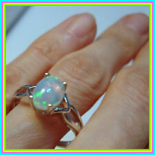 Ethiopian Welo Opal 1.35ct Solitaire Ring Platinum / Sterling Silver 925 sz 8 9