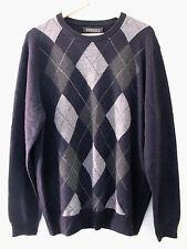 NWT Harrison Davis 100% Cashmere Men's Navy Blue Gray Argyle Sweater XL $265