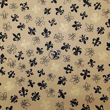 BonEful Fabric FQ Cotton Quilt Brown Black Gold Fleur De Lis French Country Girl