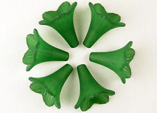 Acrylic Bead 350 Trumpet Flower Frosted Morning Glory Bugle Shamrock Green 23mm