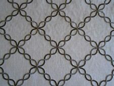 Duralee Embroidered Trellis Lattice Drapery Fabric 15 yards Retail value $1350