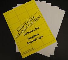100 Hojas A4 Etiquetas de dirección Laser & Inkjet 21 por hoja 2100 Etiquetas En Total