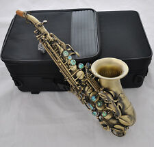 Top Antique Bb Curved Soprano Sax Ablone ky Engrave High F# Saxophone +BlackCase