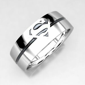 7 MM Superman Silver Mens Wedding Band Ring 925 Sterling Silver Unique Design