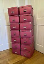 LOT of 14 IKEA KASSETT Red Storage Box METAL CORNERS File Document Large 13x10x7