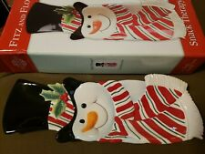 """Fitz & Floyd Snowman Server Snack Therapy Tray Plate 2005 Box 13.5"""" Wall Hanger"""