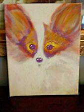Simplistic Papillon Dog Toy Spaniel Portrait Oil Painting on Canvas~8 X 10