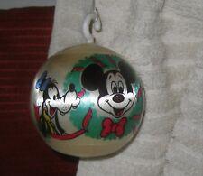 Vintage Disney Merry Christmas 1977 Satin Ball Ornament Mickey Goofy Donald
