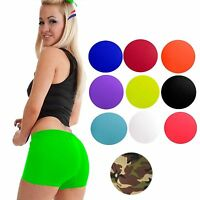 Womens Ladies Stretchy Neon Lycra Dance Gym Lot Party Hot Pants Shorts Knicker »