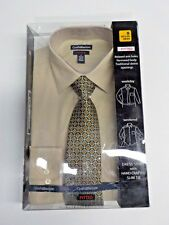 MEN'S SMALL 14 1/2-15 32/33 CROFT & BARROW BEIGE  FITTED DRESS SHIRT NWT #6765