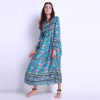 New Women's Floral Autumn V Neck Long Maxi Dress Loose Bohemian Dress Sundress