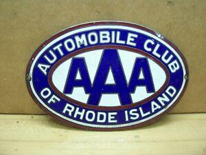 Vintage AAA Rhode Island Porcelain Car Grille Plaque Badge Topper Emblem