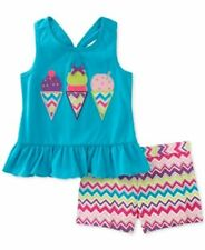 Kids Headquarters Girls Ice Cream Cotton Top and Shorts Size 6
