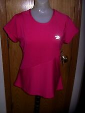 "UMBRO-S/S-""MOTION CONTROL"" TOP-MD./DK.PINK STRIPED-POLY/SPANDEX-CHEST LOGO-M-NWT"