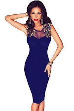 Abito aperto velluto Scollo nudo trasparente ricamo Velvet Midi Evening Dress M